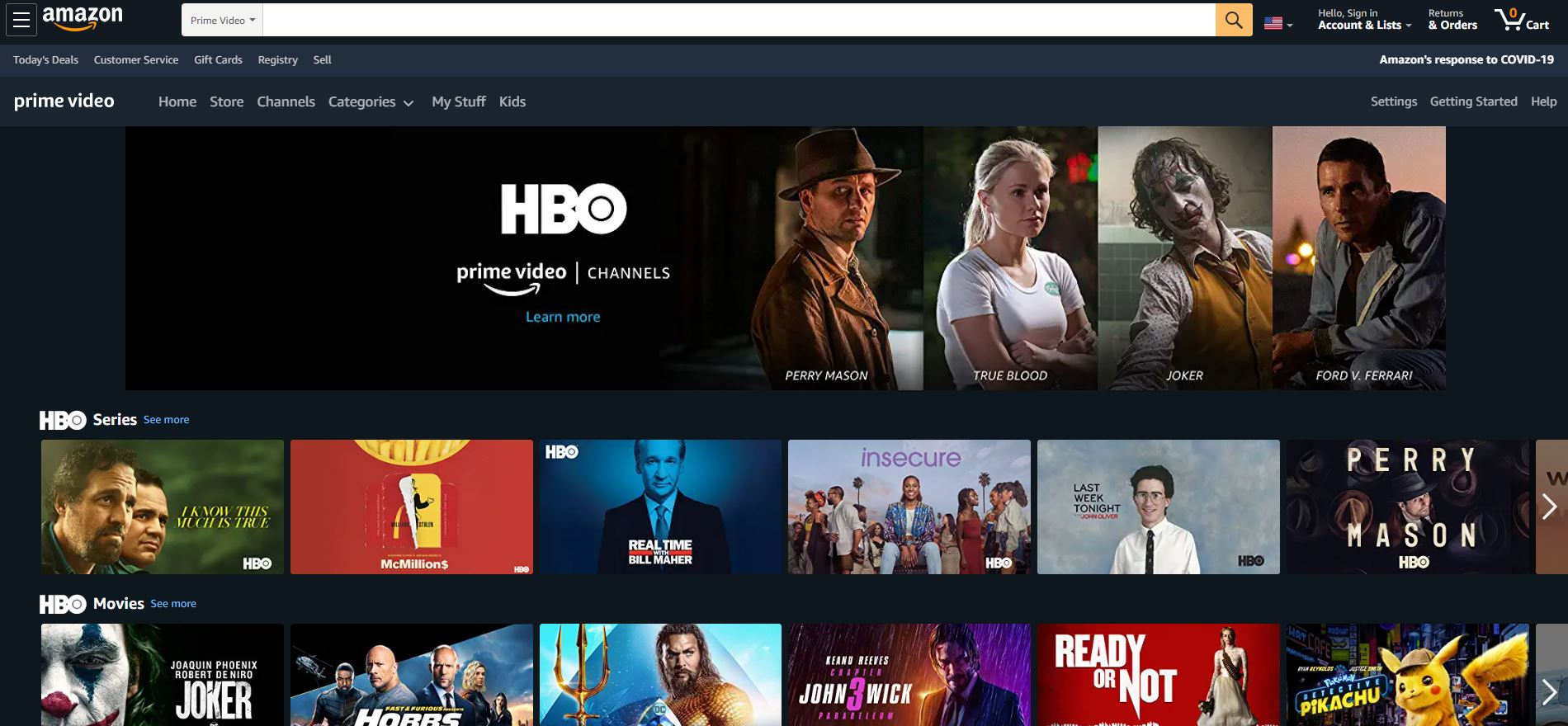 AmazonプライムビデオでHBO作品が視聴できる
